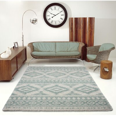 Lindgren Ivory/Aqua Trellis Area Rug Rug Size: Rectangle 710 x 105