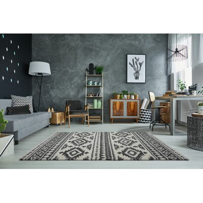 Lindgren Ivory/Gray Trellis Area Rug Rug Size: Rectangle 53 x 75