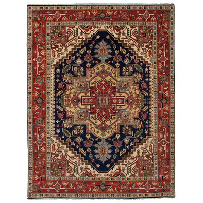 One-of-a-Kind Briggs Hand-Knotted Wool Dark Navy/Red Area Rug