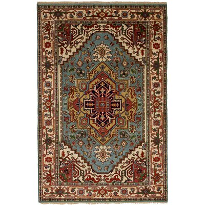 One-of-a-Kind Briggs Hand-Knotted Wool Red/Sky Blue Indoor Area Rug