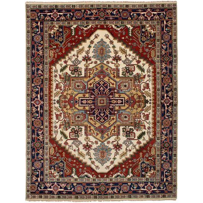 One-of-a-Kind Briggs Hand-Knotted Wool Cream/Red Area Rug
