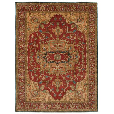 One-of-a-Kind Briggs Hand-Knotted Wool Red/Beige Area Rug