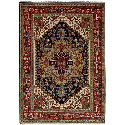 One-of-a-Kind Briggs Hand-Knotted Wool Navy Blue/Red Indoor Area Rug