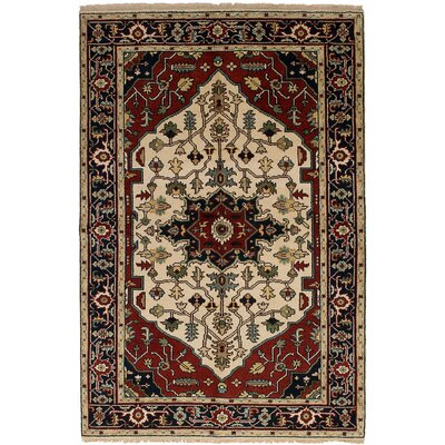 One-of-a-Kind Briggs Hand-Knotted Wool Cream/Dark Red Indoor Area Rug