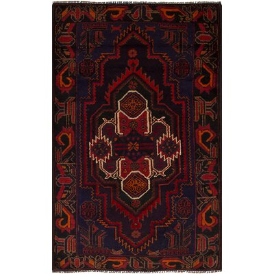One-of-a-Kind Hewes Hand-Knotted Wool Navy Blue/Red Indoor Area Rug