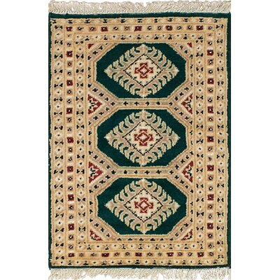 One-of-a-Kind Onondaga Hand-Knotted Wool Cream/Green Indoor Area Rug