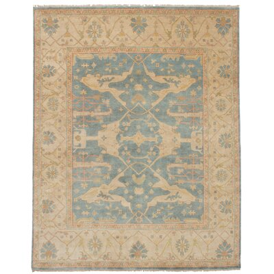 One-of-a-Kind Li Hand-Knotted Wool Light Denim Area Rug