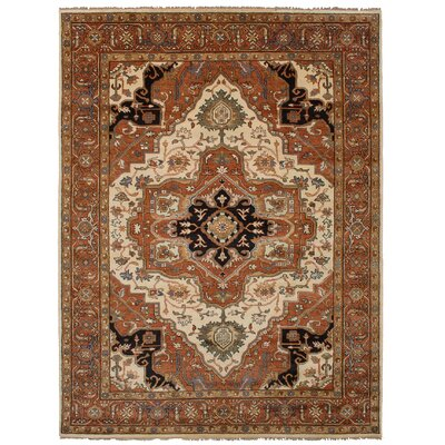 One-of-a-Kind Briggs Hand-Knotted Cream/Dark Copper Area Rug