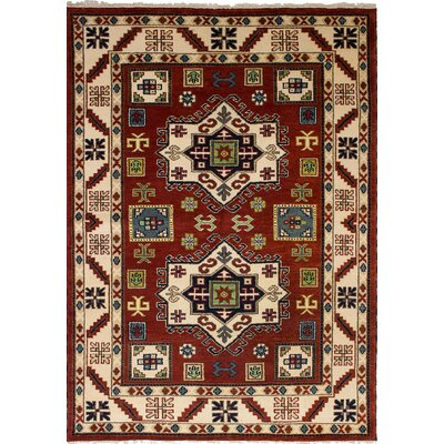 One-of-a-Kind Berkshire Hand-Knotted Wool Dark Red/Beige Indoor Area Rug