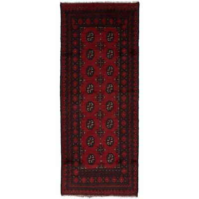 One-of-a-Kind Bridges Hand-Knotted Wool Red Area Rug Rug Size: Runner 27 x 64