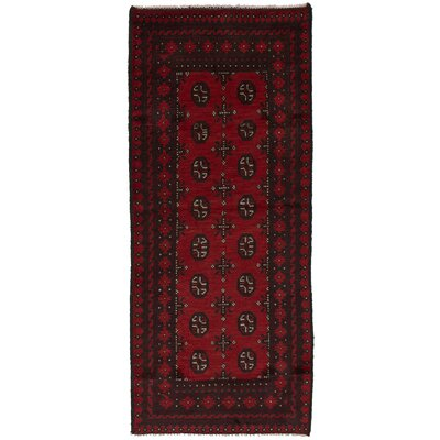 One-of-a-Kind Bridges Hand-Knotted Wool Red Area Rug Rug Size: Runner 27 x 63