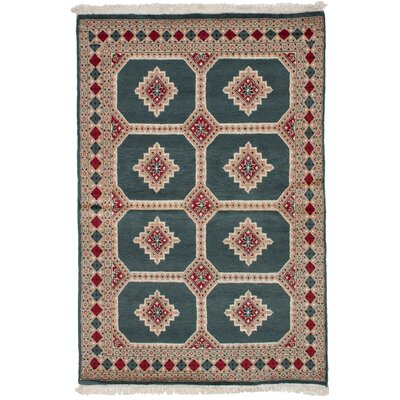 One-of-a-Kind Onondaga Hand-Knotted Wool Dark Teal Area Rug
