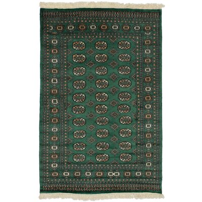 One-of-a-Kind Olney Springs Hand-Knotted Wool Green Area Rug