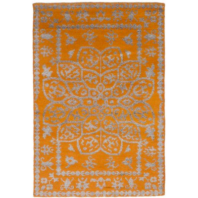 One-of-a-Kind Hickey Hand-Knotted Wool/Silk Orange Area Rug