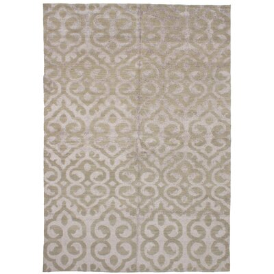 One-of-a-Kind Poplin Hand-Knotted Wool/Silk Olive Area Rug