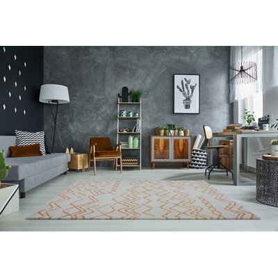 Mckinnie Shaggy Ivory/Orange Area Rug Rug Size: Rectangle 65 x 95