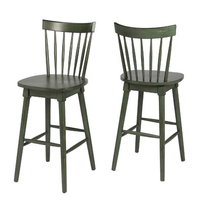 Manzi 30 Swivel Bar Stool Frame Color: Green