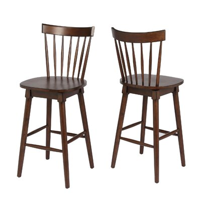 Manzi 30 Swivel Bar Stool Frame Color: Walnut