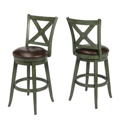 Hassell 29 Swivel Bar Stool Frame Color: Green