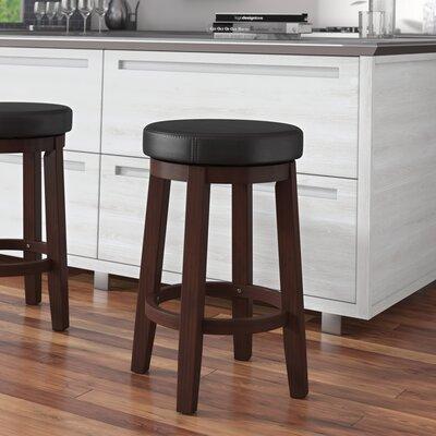Colesberry 24 Swivel Bar Stool Upholstery: Black