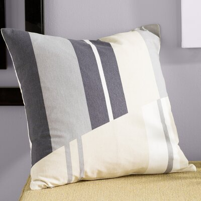 Clio Striped Cotton Throw Pillow Size: 18 H x 18 W x 4 D, Color: White / Charcoal / Beige / Gray
