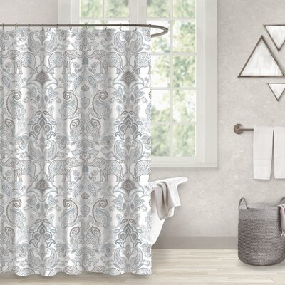Cranford Elephant Paisley 100% Cotton Shower Curtain