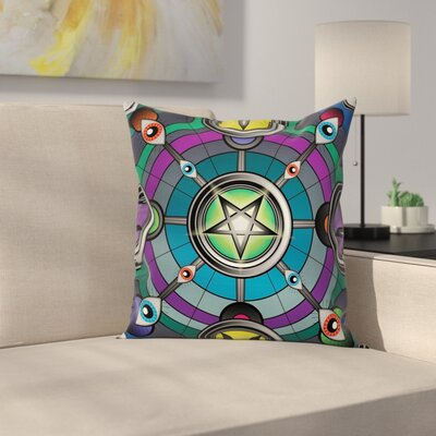 Cartoon Pentagram Evil Eyes Square Pillow Cover Size: 24