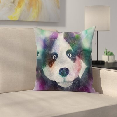Fabric Psychedelic Panda Square Pillow Cover Size: 16 x 16