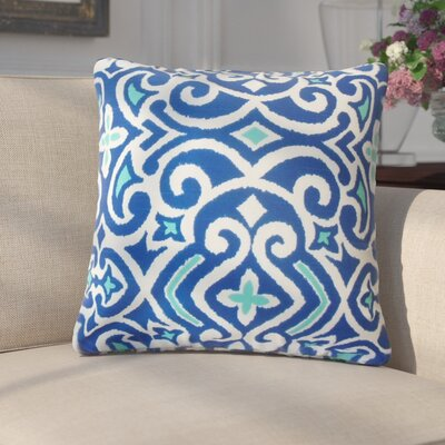 Amott Damask Cotton Throw Pillow Color: Marine