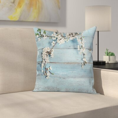 Wooden Spring Flowers Branches Square Pillow Cover Size: 16 x 16