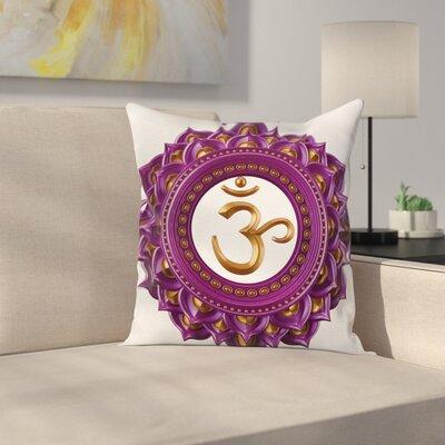 Chakra Symbol Mandala Square Pillow Cover Size: 18 x 18