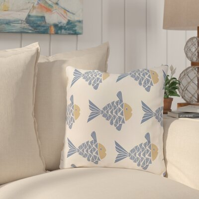 Grand Ridge Fish Tales Coastal Throw Pillow Size: 26 H x 26 W, Color: Blue