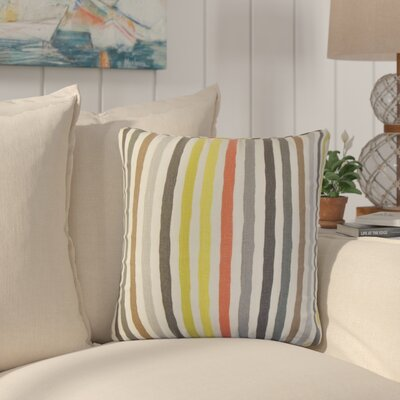 Merganser Stripe Linen Throw Pillow Color: Red/Black