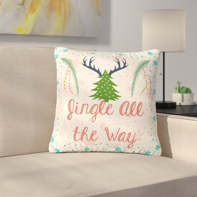 Famenxt Jingle All the Way Holiday Digital Outdoor Throw Pillow Size: 16 H x 16 W x 5 D