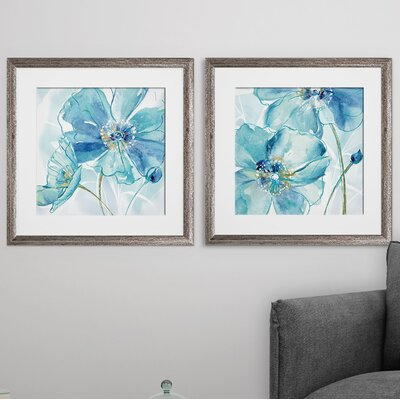 'Blue Spring Poppy I' 2 Piece Framed Print Set 6548340D590246DF94DB5F33CEA4084F