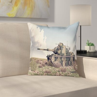 Camo American Camouflage Tank Square Pillow Cover Size: 16 x 16