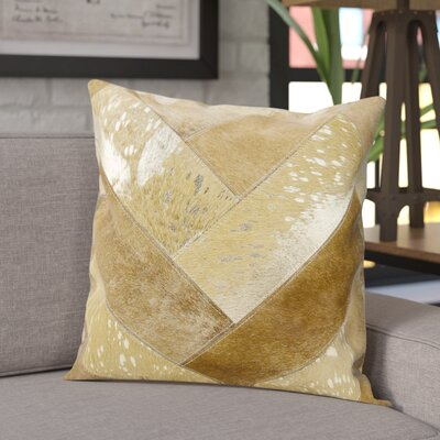Boquillas Leather Throw Pillow Color: Beige/Gold