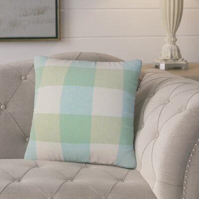 Porath Plaid Linen Throw Pillow Color: Light Blue