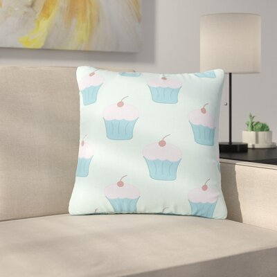 NL Designs Cupcakes Food Outdoor Throw Pillow Color: Blue, Size: 18