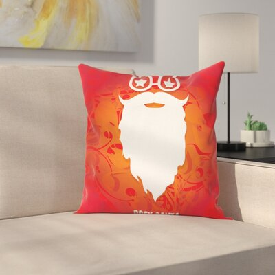 Rock Santa Claus Xmas Square Cushion Pillow Cover Size: 24