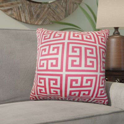 Yula Greek Key Cotton Throw Pillow Color: Pink