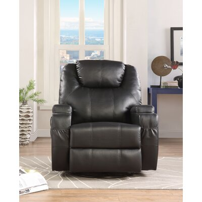 Despain Manual Swivel Rocker Recliner Upholstery: Black