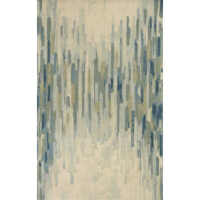 Korte Hand-Tufted Wool Green/Cream Area Rug Rug Size: Rectangle 9 x 13