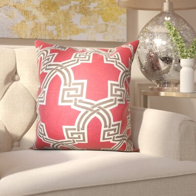 Lawler Geometric Throw Pillow Color: Red, Size: 18x18