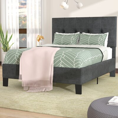 Borum Upholstered Panel Bed Size: Queen, Color: Charcoal