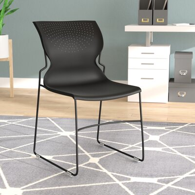 Flora Full Back Stackable Guest Chair Seat Finish: Black