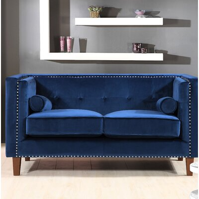 Kittleson Classic Nailhead Chesterfield Loveseat Upholstery: Blue