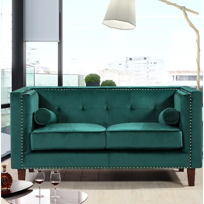 Kittleson Classic Nailhead Chesterfield Loveseat Upholstery: Green