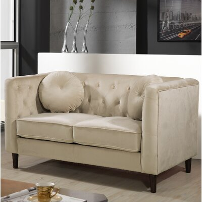 Kitts Classic Chesterfield Loveseat Upholstery: Ivory