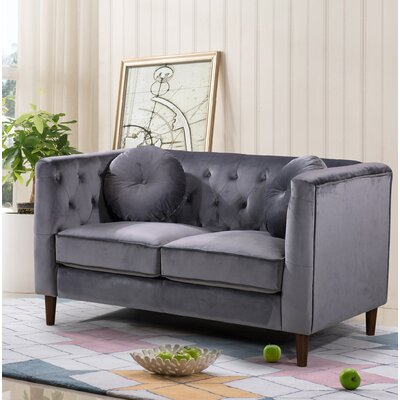 Kitts Classic Chesterfield Loveseat Upholstery: Gray